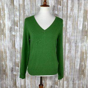 Boden V-Neck Green Cashmere Blend Sweater Sz 14/L